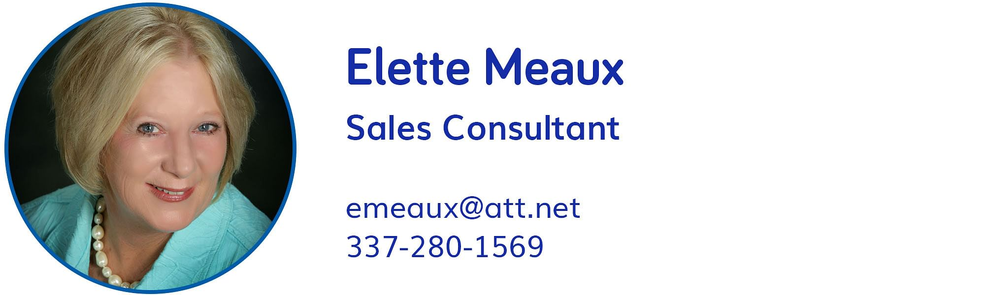 Elette Meaux, emeaux@att.net, 337-280-1569