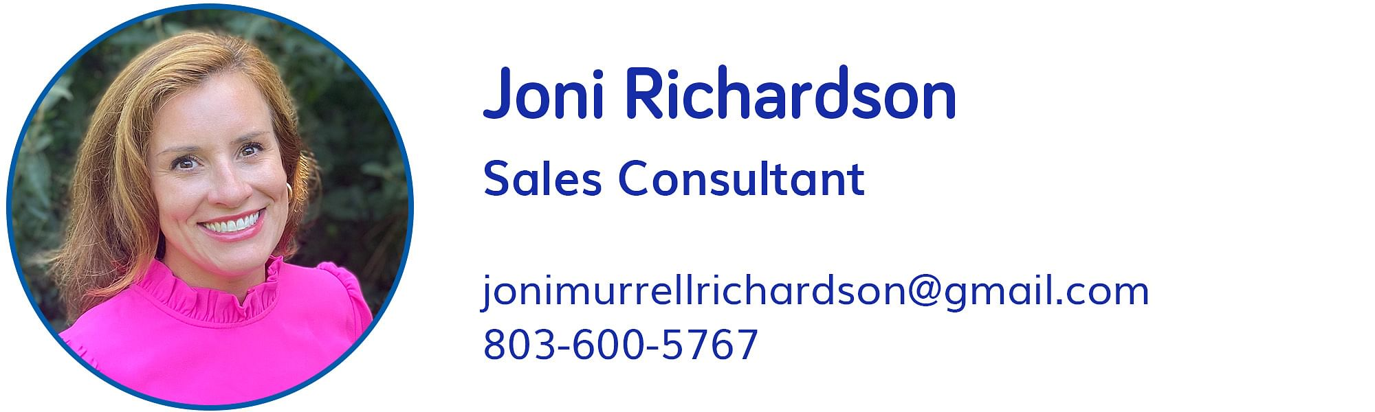 Joni Richardson, jonimurrellrichardson@gmail.com, 803-600-5767