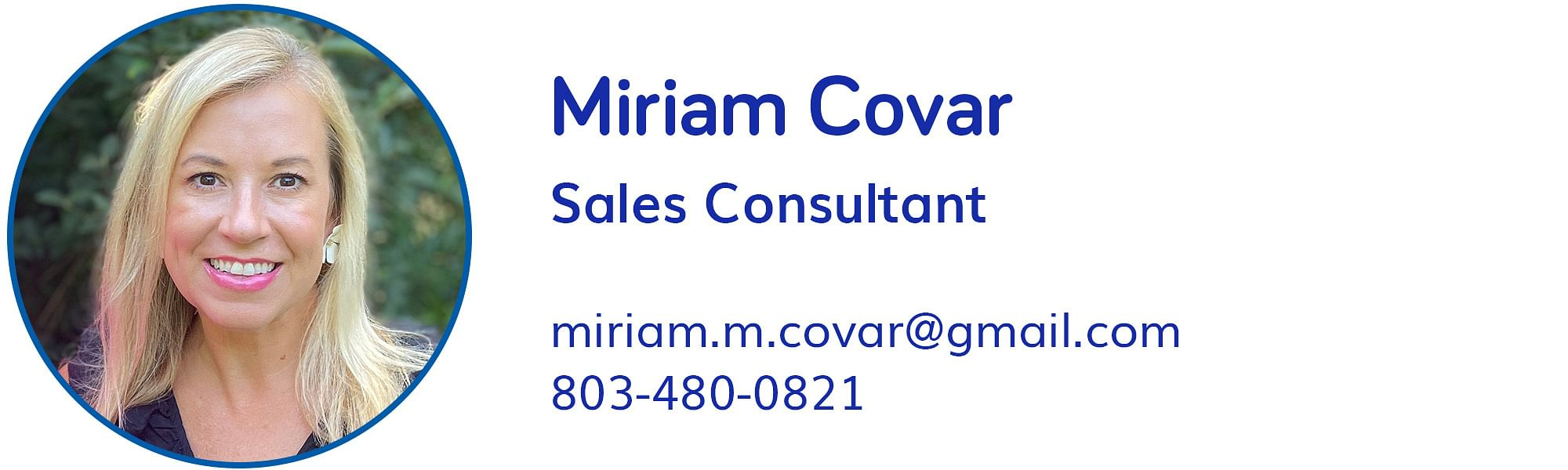 Miriam Covar, miriam.m.covar@gmail.com, 803-480-0821